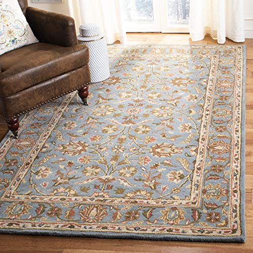 Safavieh Heritage Collection HG969A Handcrafted Traditional Oriental Blue Wool Square Area Rug (8' Square) (Quality Wool Rugs)