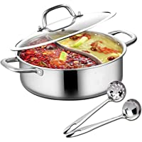 Hot Pot met scheidingswand, Shabu Shabu Hot Pot roestvrij staal met scheidingswand en deksel keukenkookgerei kookpannen…