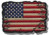 "[Single Count] Custom and Unique (2'' x 2.5'') Rectangle ""United States"" USA Distressed American Flag Iron/Sew On Embroidered Applique Patch {Black, Red, White, & Blue Colors}"