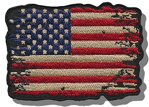 "[Single Count] Custom and Unique (2'' x 2.5'') Rectangle ""United States"" USA Distressed American Flag Iron/Sew On Embroidered Applique Patch {Black, Red, White, & Blue Colors} by Patch Squad USA"