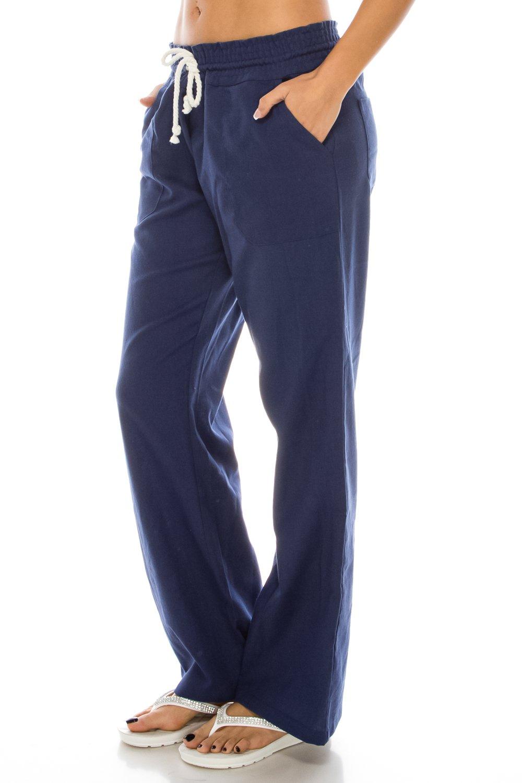 Poplooks Women's Beachside Soft Palazzo Style Linen Pants (Medium, Indigo)