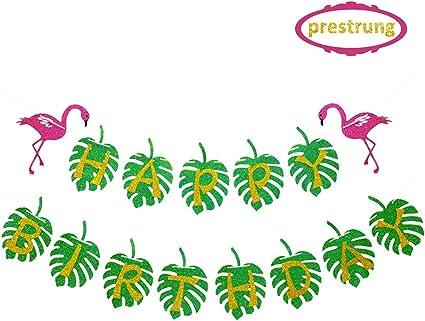 Beach Pool Party Decor Hawaiian Luau Birthday Party Decorations Supplies Tropical Happy Birthday Banner Hawaiian Flamingo Pineapple Palm Leaves Themed Party Supplies