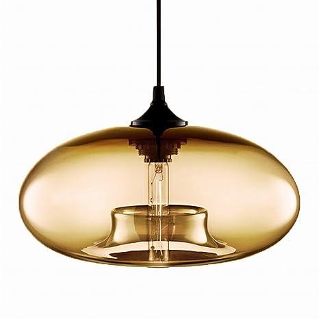 Newrays Industrial Hanging Single Glass Pendant Lights Kitchen Island Lighting Fixtures Amber