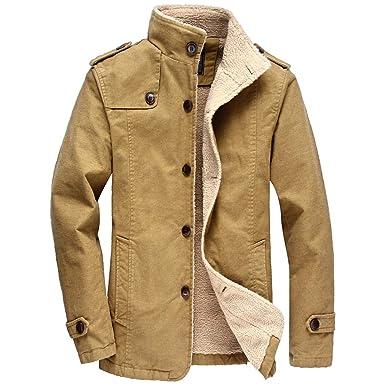 4775af3a1 WALK-LEADER Men's Sherpa Lined Cotton Bomber Jacket Trucker Jacket ...