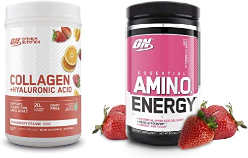 Optimum Nutrition Collagen Plus Hyaluronic Acid, Resveratrol, Strawberry Orange Flavor with Amino Energy Green Tea,Coffee Extract, Strawberry Burst