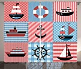 Farmhouse Decor Curtains Marine Theme with Sea Elements Lifebuoy Sailboat Ship Figures on Striped Setting Living Room Bedroom Window Drapes 2 Panel Set Multi Review