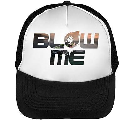 Blow Turbocharger Turbo Drift Go Sideways Cool Phrases Words Mens Baseball Trucker Cap Hat Snapback Black
