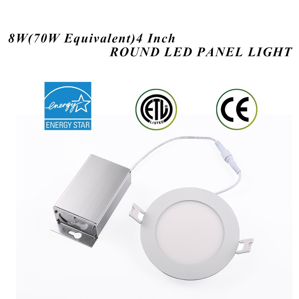 TSCDY IC Rated 4-inch Ultra-thin Dimmable Round LED Downlight 8W(70W Replacement)With Junction Box Retrofit LED Recessed Lighting Fixture 3000K Warm White 750LM Round led ceiling Panel Light(1Pack)