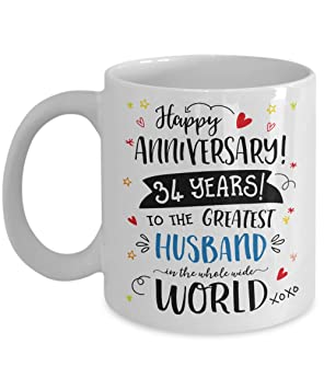 34th Wedding Anniversary Gifts For Him - Greatest Husband Mug - 34 ...