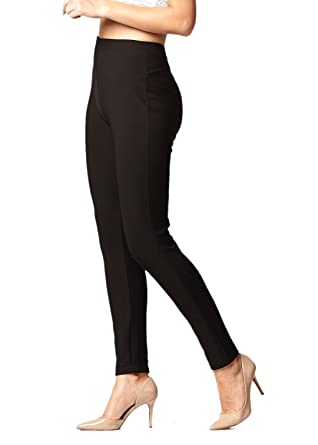 b44c29607e Premium Women's Stretch Ponte Pants - Dressy Leggings with Butt Lift -  Black - Small/