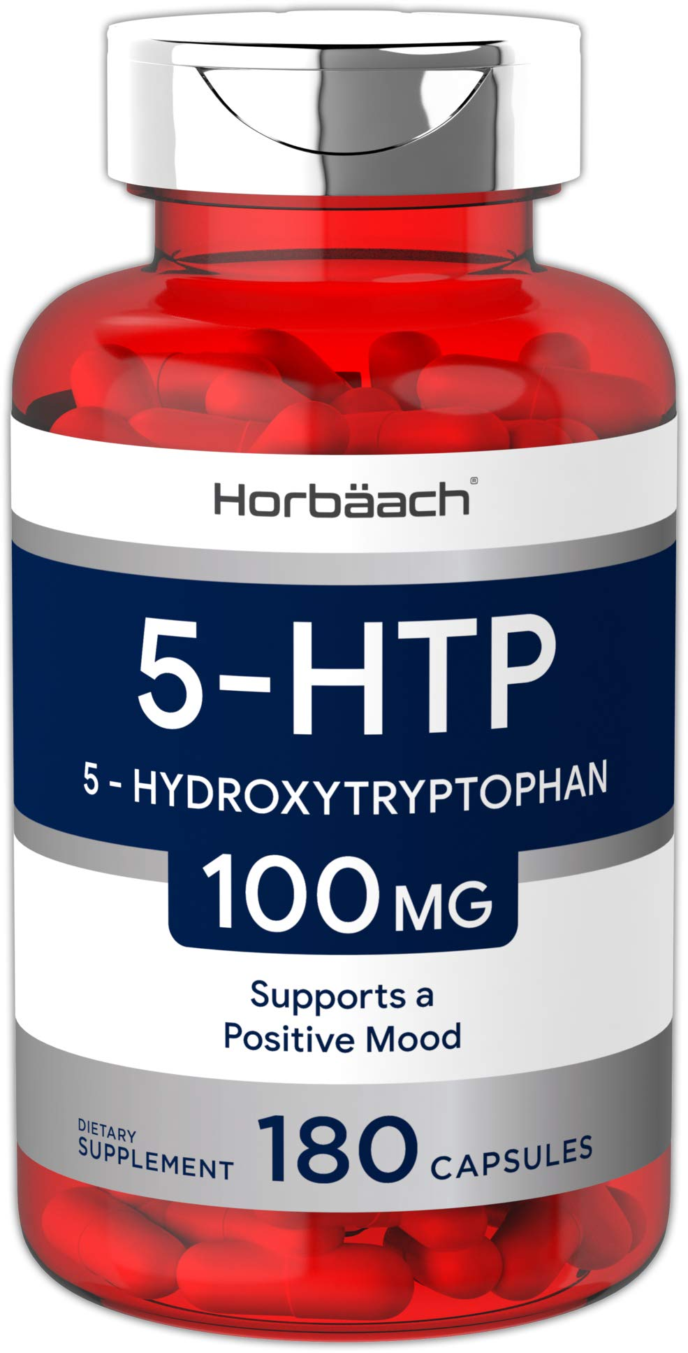 Horbaach 5HTP 100mg 6-Month Supply | 180 Capsules | Non-GMO, Gluten Free | 5 HTP | 5 Hydroxytryptophan Extra Strength Supplement