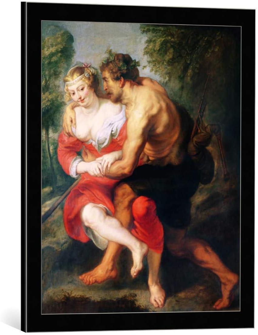 Kunst für Alle Cuadro con Marco: Peter Paul Rubens Scene of Love or The Gallant Conversation - Impresión artística Decorativa con Marco, 50x60 cm, Negro/Canto Gris