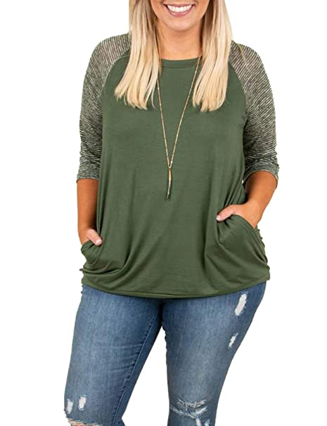 Womens Plus Size Tops Raglan Baseball Tee Shirts Striped Short Sleeve Long  Sleeve Crewneck Sweatshirts Pullover e82c208a3