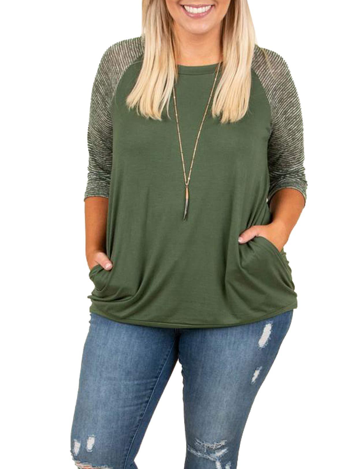 YSkkt Womens Tops Plus Size Raglan Shirt 3/4 Sleeve Striped Crew Neck Tshirt Tunic with Pockets