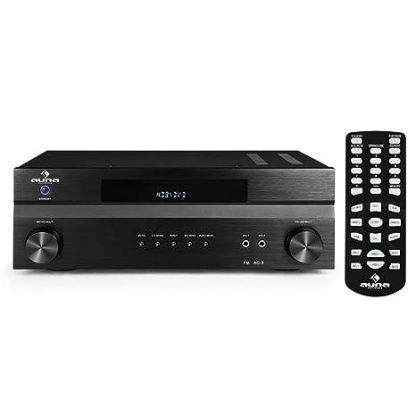 Auna AV2-H338 receptor amplificador (1200 W de potencia máxima, apto subwoofer, radio FM, apto HDMI, 2 entradas micrófono, mando a distancia, exterior ...