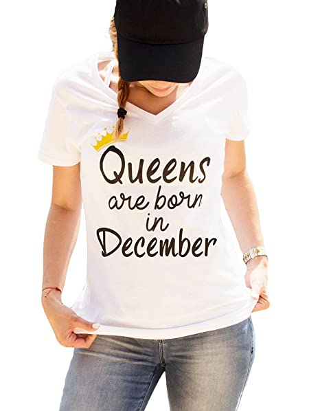 bcb5aeea2 LeRage Shirts Queens Are Born In December Shirt V-Neck Style Women's White  Small