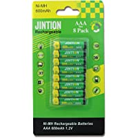 JINTION AAA Rechargeable Batteries 8 Pack NiMh Triple A 600mAh Rechargeable AAA Batteries for Solar Lights Remote…