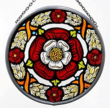 Decorative Hand Painted Stained Glass Window Sun Catcher Roundel In A Medieval Tudor Rose Design