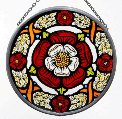 - Decorative Hand Painted Stained Glass Window Sun Catcher/Roundel in a Tudor Rose Design.