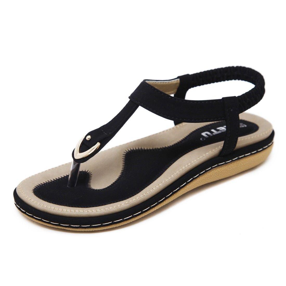 AIKAKA Damenschuhe Fruuml;hling Sommer Groszlig;e Student Studded Flachen Sandalen  37 EU|Black