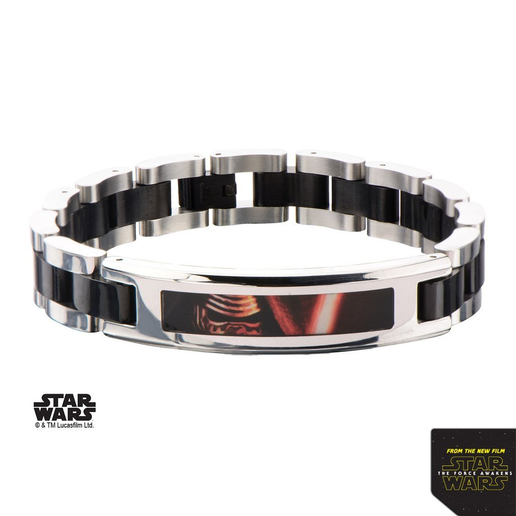 Star Wars Episode 7 Black PVD Plated Kylo Ren ID Link Bracelet Stainless Steel