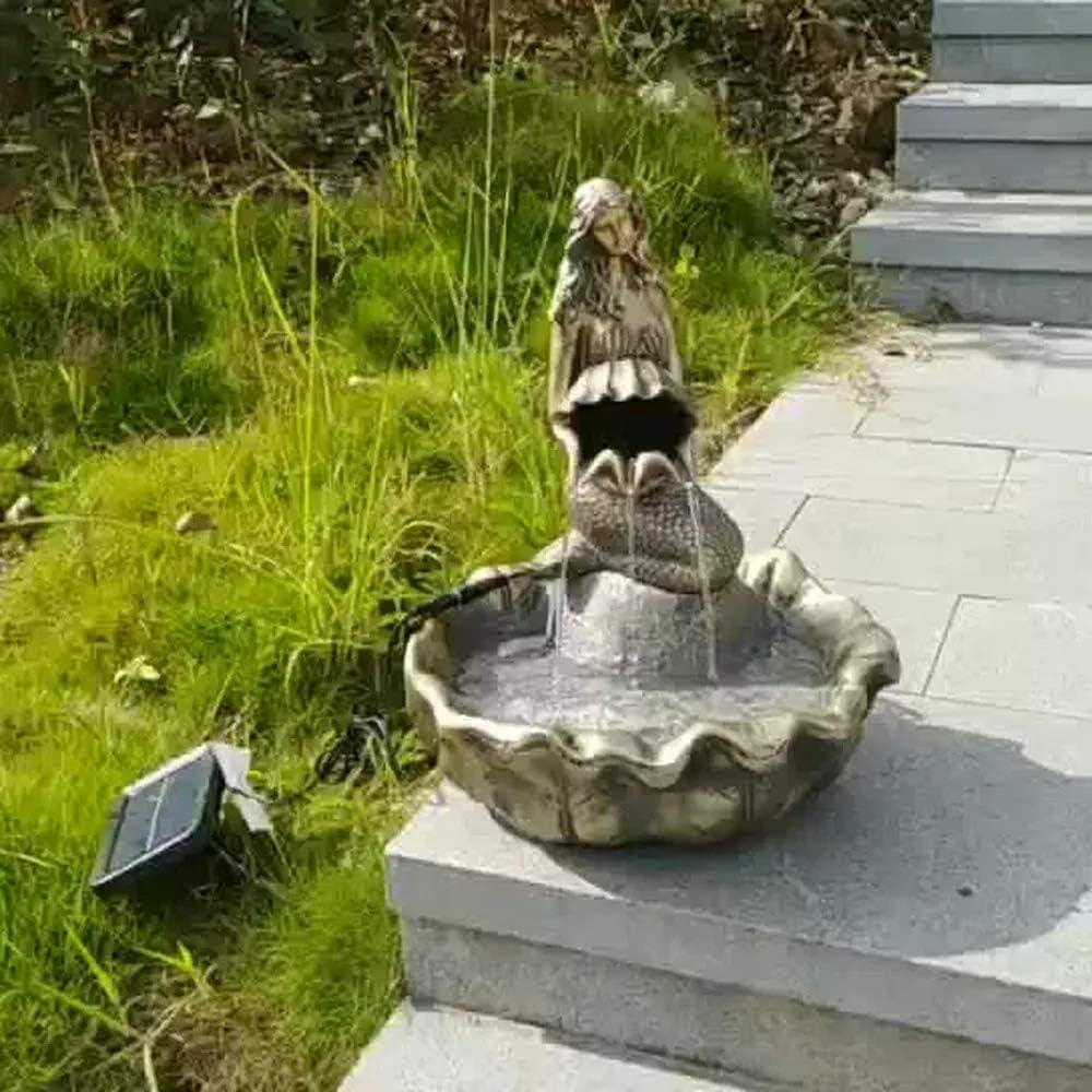 Figura Decorativa para jardín Sirena Solar Fuente De Agua De Resina Impermeable Estatua Del Jardín Para La Yarda Del Césped Del Paisaje Decoración Hace El Regalo A -33 * 30 * 40cm
