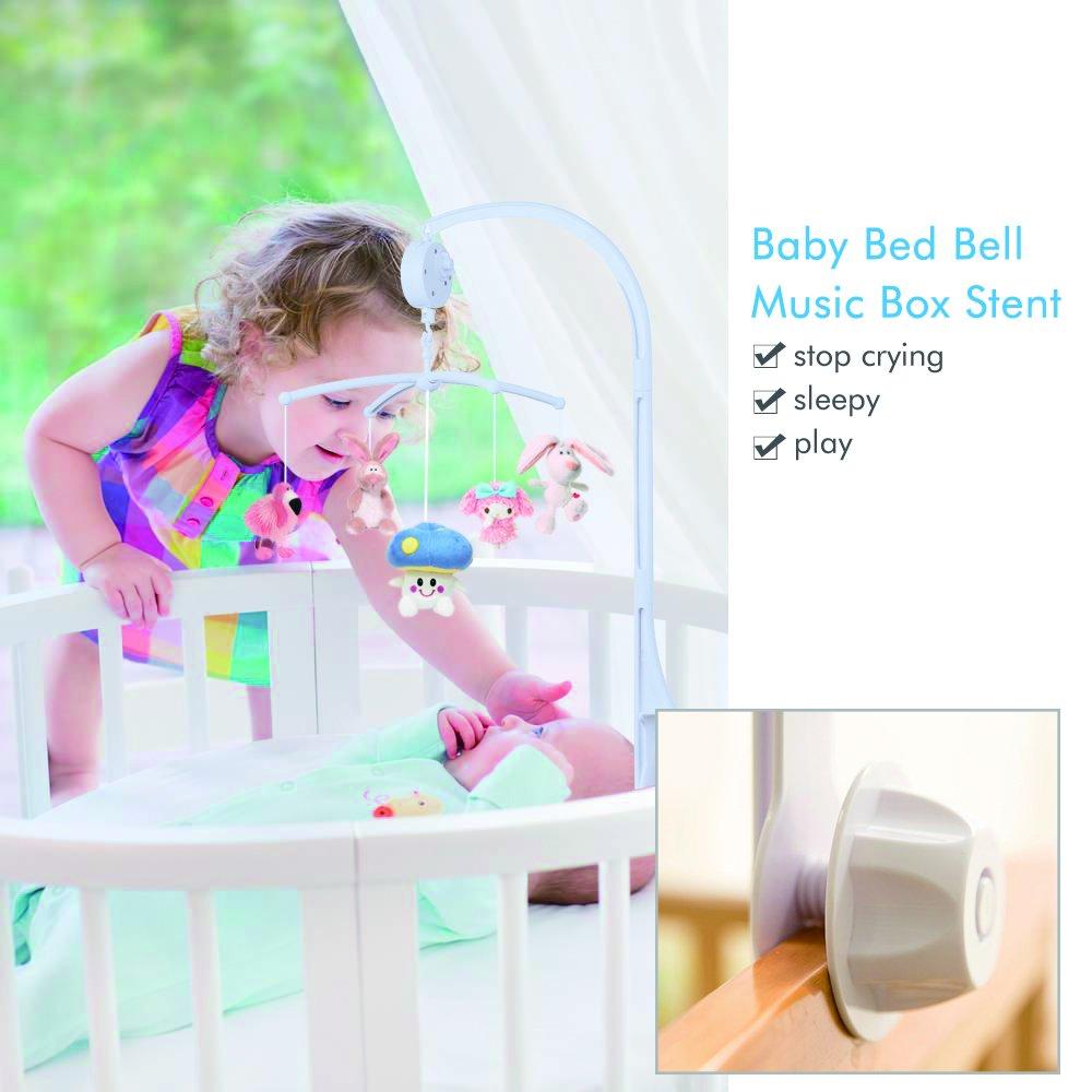 Weiße 34 Zoll Babybett Mobile Bett Bell Halter Arm Halterung mit 12 Songs Spieldosen