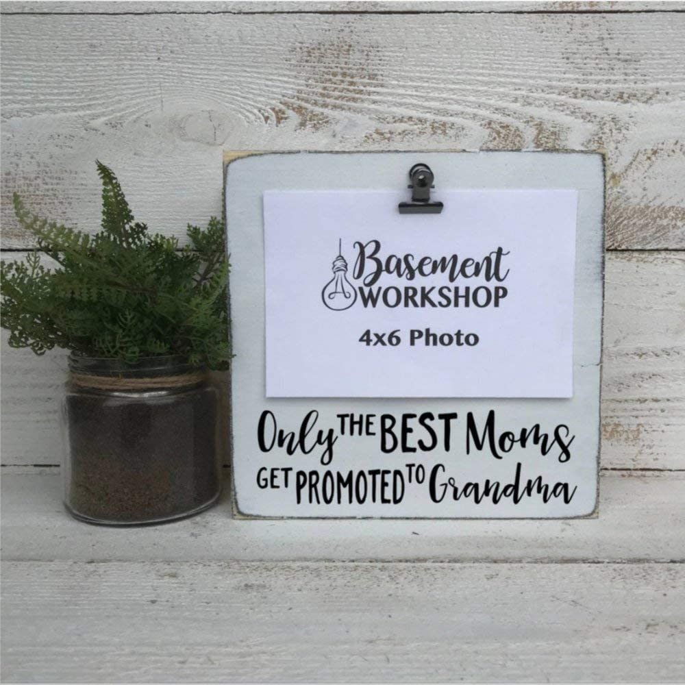 DONL9BAUER Only The Best Moms Get Promoted to Grandma Photo Block Rustic Wood Sign Mother's Day Present Grandma Frame Pregnancy Announcement Wall Hanging Home Decor