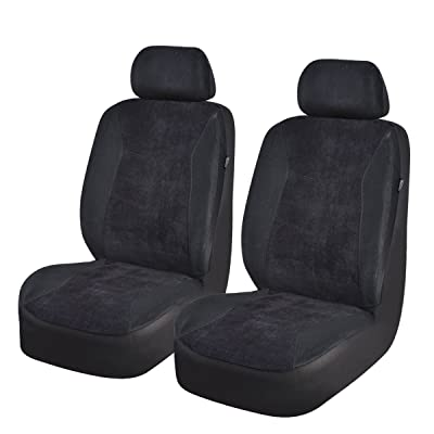 NEW ARRIVAL- CAR PASS Universal Fit CORDUROY Two front seat covers,Airbag Compatible,Fit for suvs,sedans,vans,trucks (Classical Black): Automotive