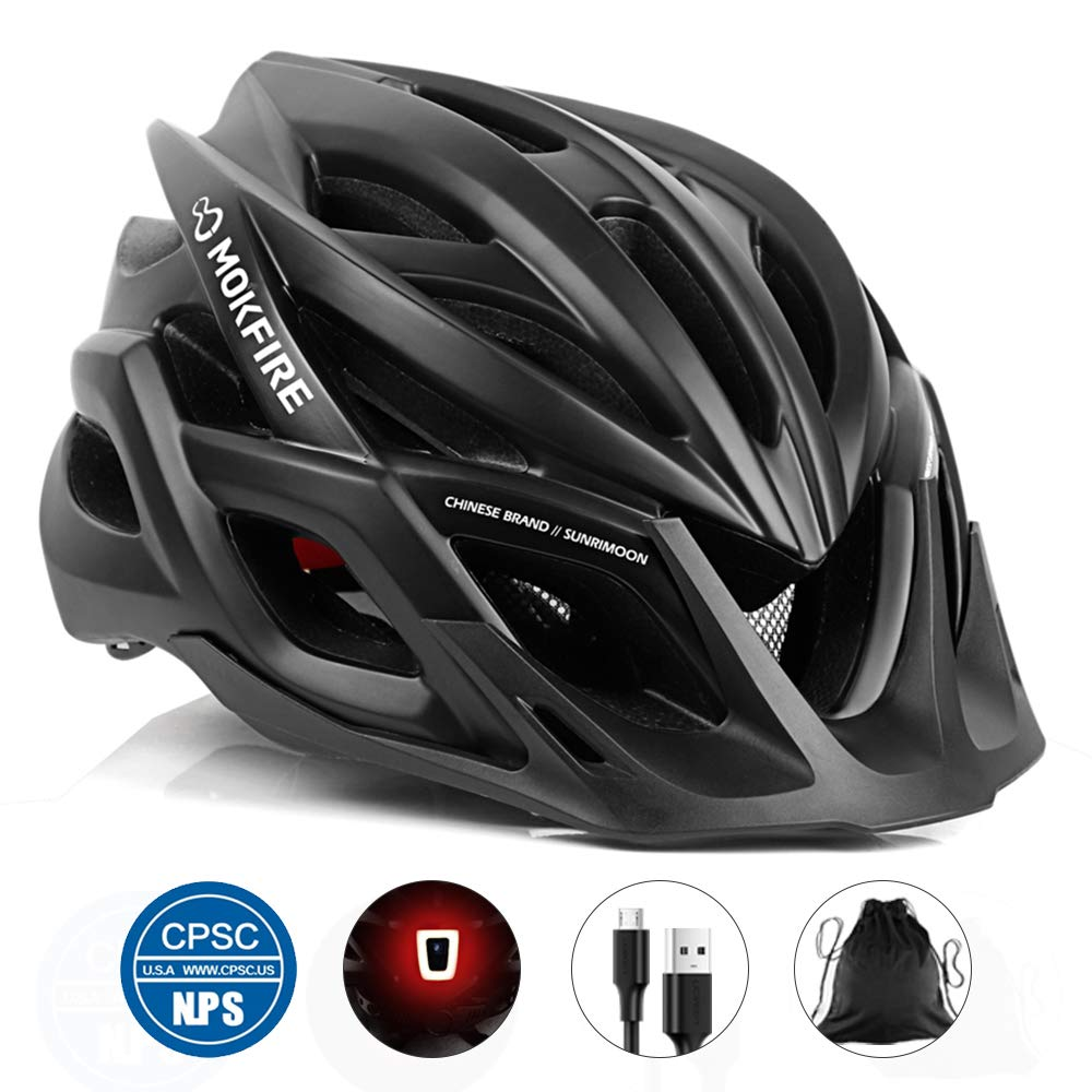 MOKFIRE Adult Bike Helmet CPSC Certified with Rechargeable USB Light, Bicycle Helmet for Men Women Road Cycling Mountain Biking with Detachable Visor Replacement Lining, 22.05-24.41 Inches