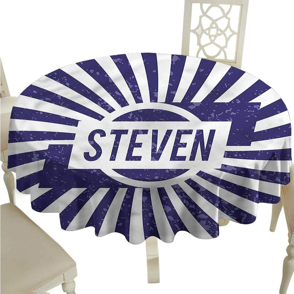 ScottDecor Wrinkle Free Tablecloths Steven,Name in Blue and White Dinning Tabletop Decoration Round Tablecloth D 36""