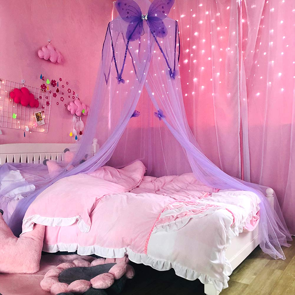 Kids Bed Canopy with Butterfly Princess Play Tent Reading Nook Round Lace Dome Curtains Baby Kids Games House Lace Mosquito Net for Girls Bed