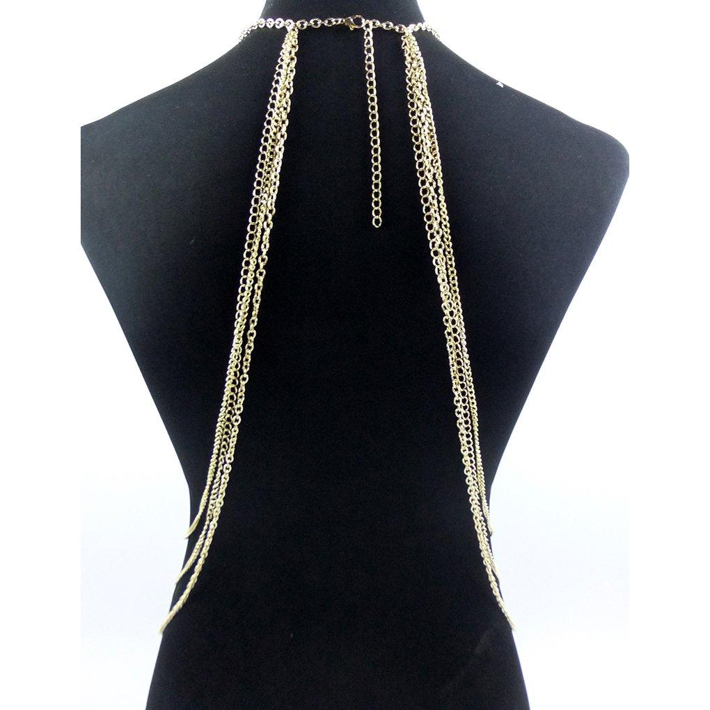 Bobury Donne Multi cristallo nappe cablaggio corpo catena Bikini Catena con collare del Choker