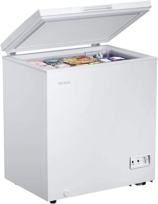 Amazon Com Tacklife 5 Cu Ft Chest Freezer Free Standing Compact Deep Freezer With Removable Basket 7 Temperature Setting From 11 2ºf To 10 4ºf Adjustable Temperature Defrost Water Drain White Mpwcf053t Appliances