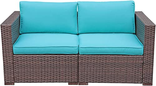 OC Orange-Casual Loveseat Sofa Resin Wicker Patio Furniture Corner Chair with Thick Turquoise Cushions, 2-Piece