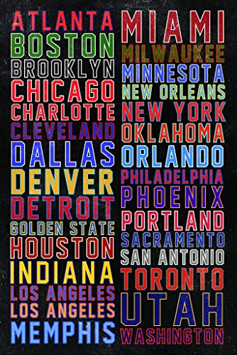Sports Team Cities Colorful Poster 24x36 inch -