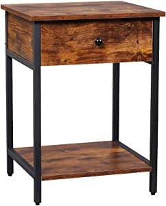 XPELKYS Nightstand, 3-Layer Coffee Table with Drawer Slides and Single Shelf, Square Side Table Suitable for Corridor, Bedroom, Living Room and Office, Retro Brown Furniture with Adjustable Legs