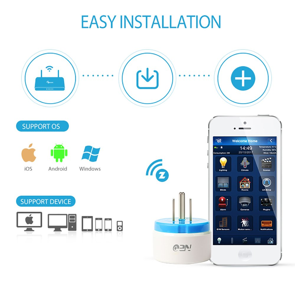 NEO Z-Wave Plus Smart Mini Power Plug Zwave Socket Zwave Outlet Home Automation, Work with Wink, SmartThings, Vera, Fibaro & more, Blue 2PK