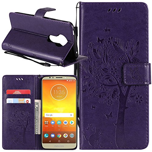 Moto E5 Plus Case, Moto E5 Supra Case, Lacass Cat Tree Pattern PU Leather Flip Wallet Case Cover Kickstand with Card Slots and Wrist Strap for Motorola Moto E5 Plus 2018 - Puprle
