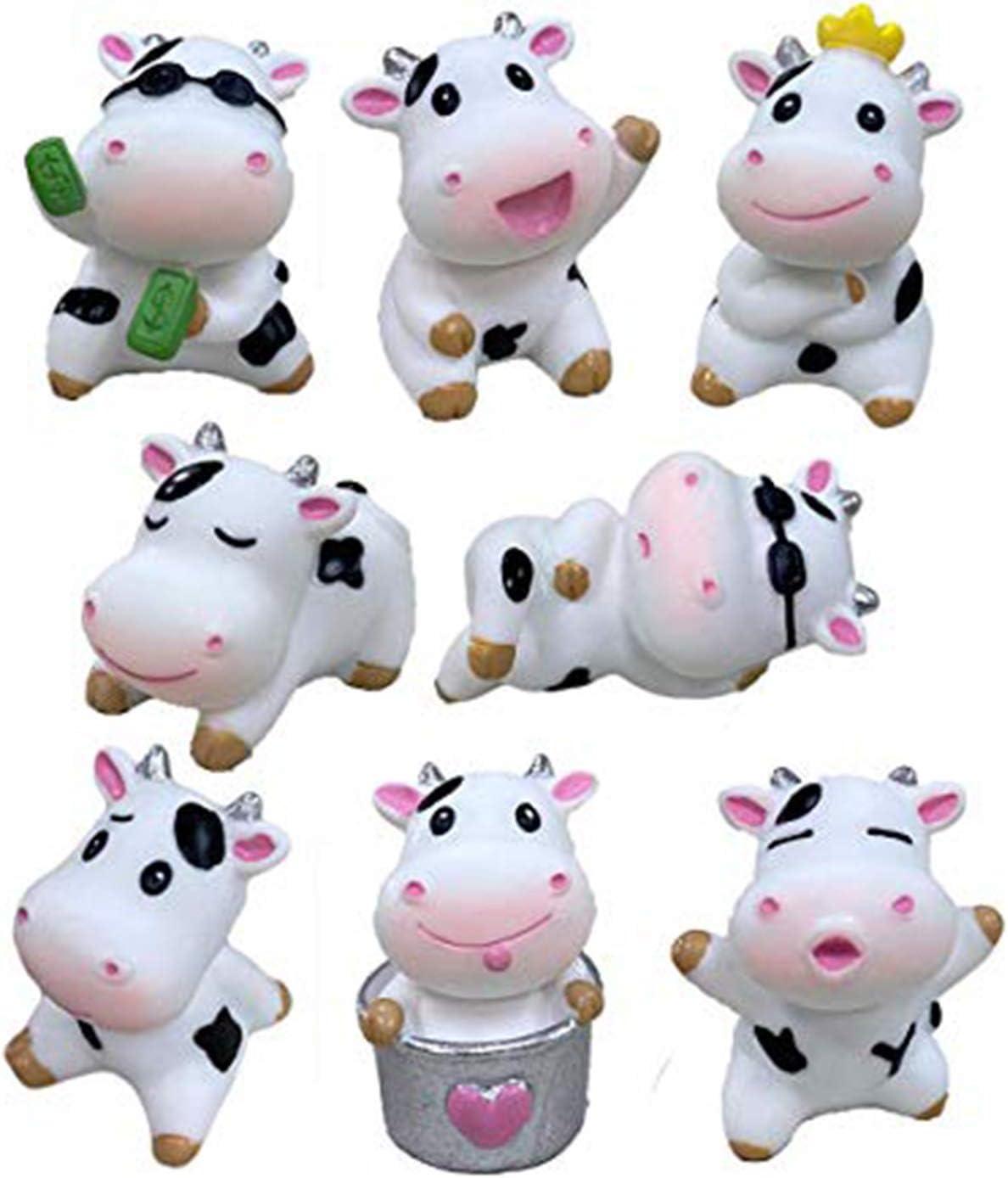 Beauy Girl 8pcs Mini Cow Animals Miniature Cow Figurines Fairy Garden Miniature Cattle Farm Figurines DIY Terrarium Crafts Moss Landscape Ornament Plant Pot Craft Dollhouse Decoration