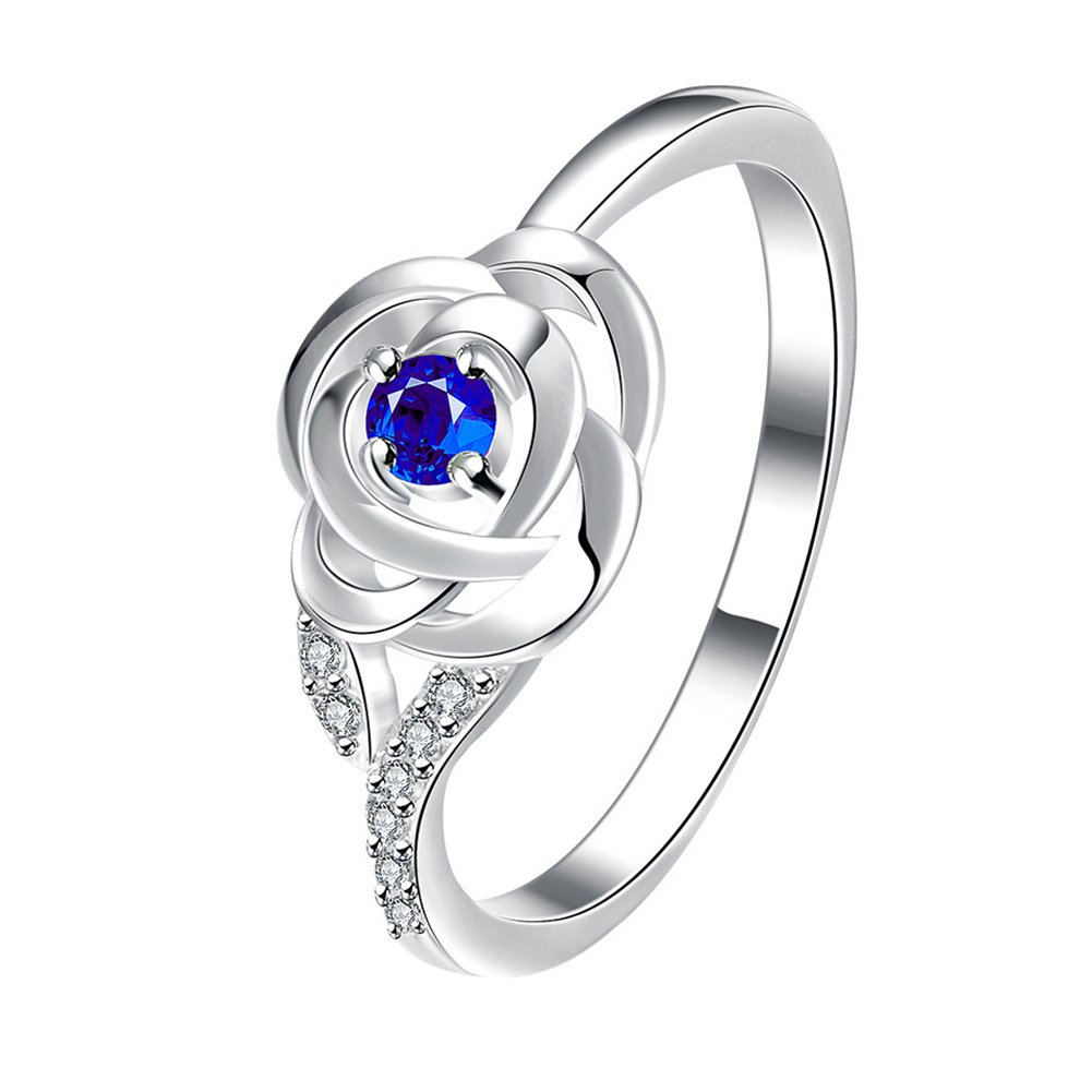 super1798 Women Fashion Cubic Zirconia Rose Flower Engagement Wedding Ring Jewelry Gifts - Blue 7
