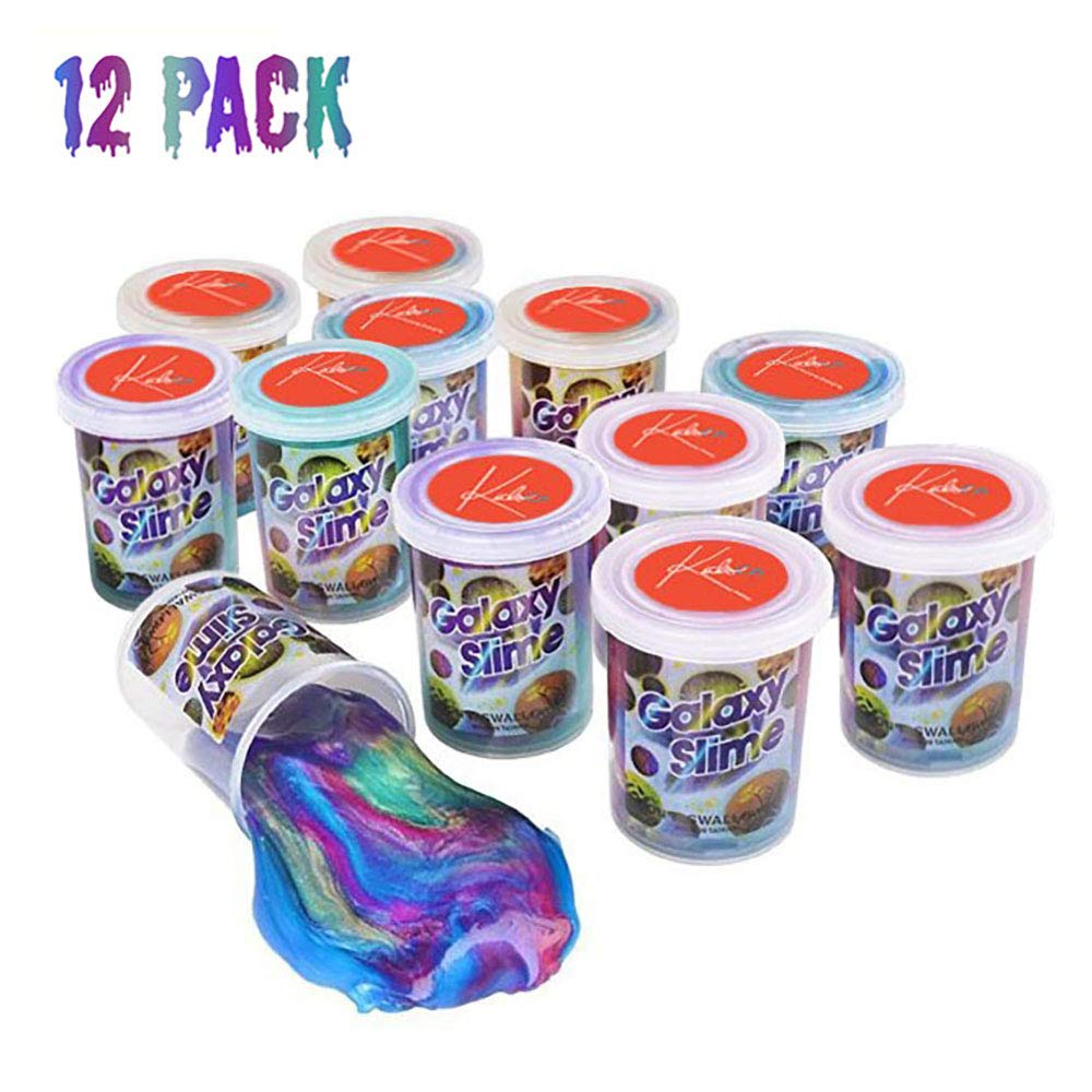 Kidsco Bulk Marbled Unicorn Color Slime - Putty Cups - Galaxy Slime - 12 Pack Rainbow Colorful Sludge Great Toy for Any Child Favor, Gift, Birthday
