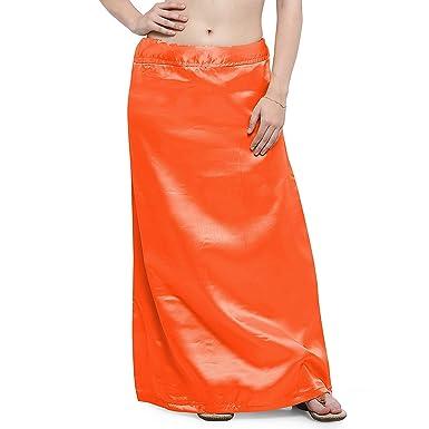 IFH Apparel Falda interior de satén naranja de seda india Saree ...