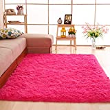 gdmgdr Ultra Soft and Fluffy Nursery Rugs 4cm High Pile Area Rugs for Bedroom and Living Room 4' x 5.3', hot Pink