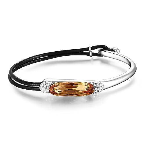 "Mondaynoon Valentine s Day Gifts"" Elegant Lady"" Swarovski Elements Women s Rope  Bangle Crystal Bracelet ( 4fd8dccc0"