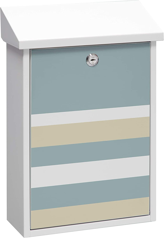 blanco -40 x 27 x 11cm Arregui Premium Graphic E5601-STR Buz/ón Individual de Acero con serigraf/ía decorativa Lines Tama/ño M DIN A4