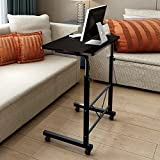 TopHomer Laptop Table Computer Stand Desk Movable Height Adjustable Reading Working with Wheels(Dark Brown)