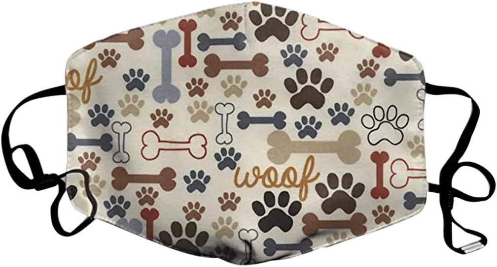 5pcs Cotton Face Bandanas Free Size, Multicolor B with Funny Animal Printed for Adults 10 Replacement Sheet Reusable//Washable