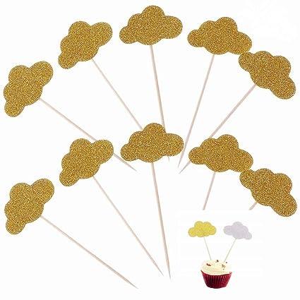 14dd1b9e3 Amazon.com  Glitter Gold Clouds Cupcake Toppers