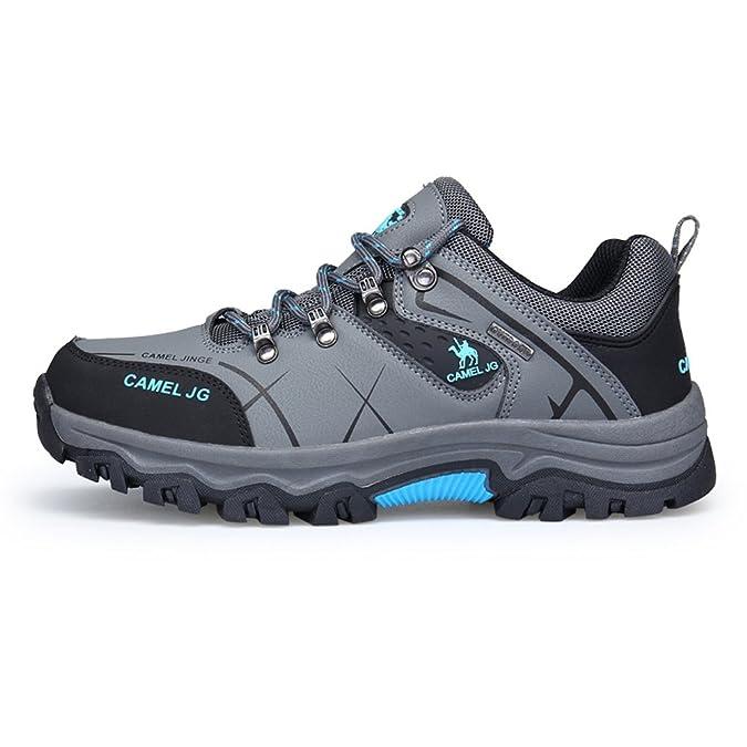 GOMNEAR Trekking und Wanderschuhe Herren Wasserdichtes Leder Walking Outdoor Low Rise Schuhe (EUR46=UK10, Grau)
